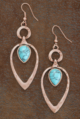 West & Co. Earrings, Copper Teardrop with Turquoise Accent