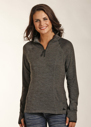 Women's Powder River Pullover, 1/4 Zip, Dark Gray