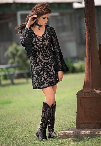 Women's Brontë Dress, Azure, Black Lace