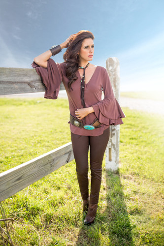 Women's Brontë L/S, Veronica, V-Neck with Bell Sleeves, Chocolate