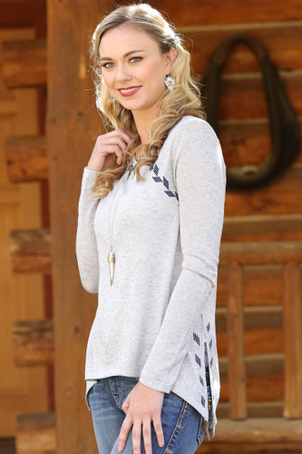 Women's Cruel Girl L/S, Gray Sweater with Navy Embroidery