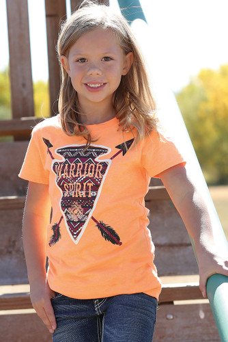 Girls Cruel Girl S/S, Orange with Warrior Spirit Arrowhead