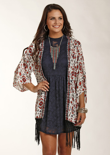 Women's Rock & Roll Kimono, Cream with Red and Blue Aztec Embroidery, Black Fringe