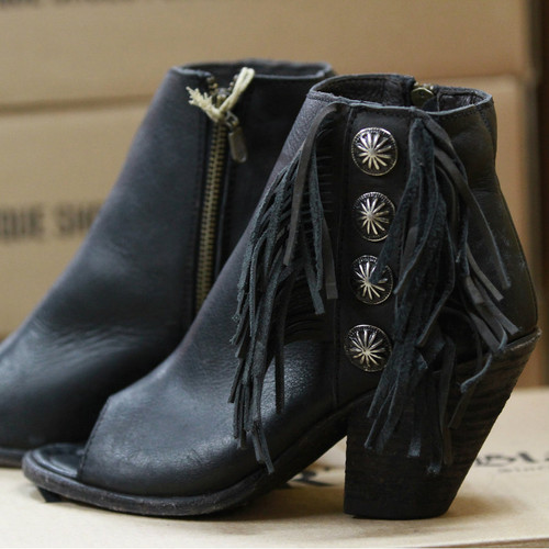 Women's Liberty Black Boots, Open Toe, Fringe, Conchos, Black