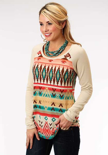 Women's Roper L/S, Cream Sweater with Aztec Print