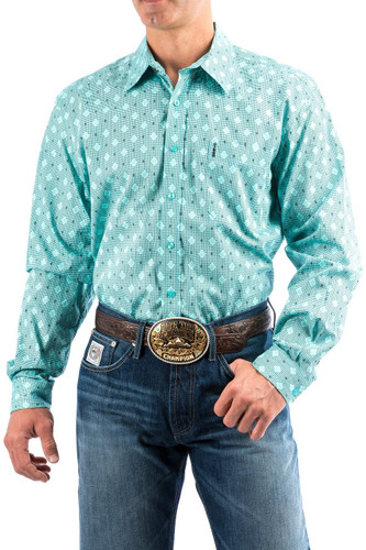 Men's Cinch L/S Modern Fit, Mint with Black Diamond Print