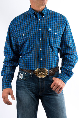 Men's Cinch L/S, Royal Blue with Black Plaid