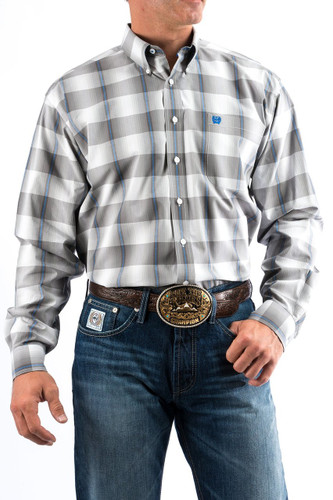 Men's Cinch L/S, Gray, Blue and White Plaid