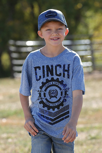 Boys Cinch Tee, Heather Blue with Black Logo