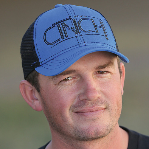 Men's Cinch Cap, Blue with Black Trucker Mesh, Black Logo