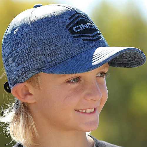 Boys Cinch Cap, Blue with Black Logo