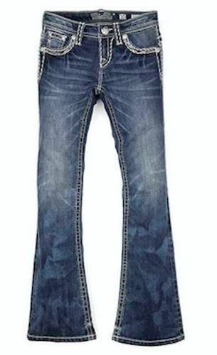 Girls Miss Me Jeans, Bootcut, Cream Stitching
