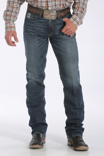 Men's Cinch Jeans, Silver Label Dark, Distressed Stonewash