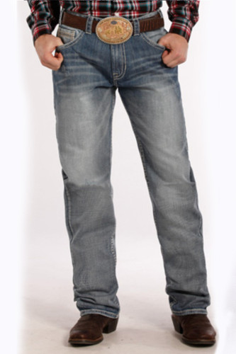 "Men's Rock & Roll Jeans,Tuf Cooper  Competiton Fit, Light Wash, Navy/Cream ""V"" Pocket"