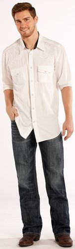 """Men's Rock & Roll Jeans,Relaxed, Straight Leg, Dark Wash, Navy/White """"V"""" Pocket"""