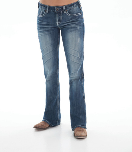 Women's Cowgirl Tuff Jean, White Stitch Pocket