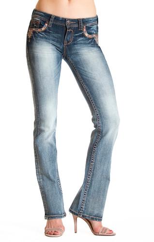 Women's Grace in LA Jeans, Copper Stud Stitch