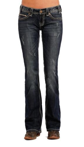 Women's Rock & Roll Jeans, Boyfriend, Med Wash, Cream Stitch Pocket