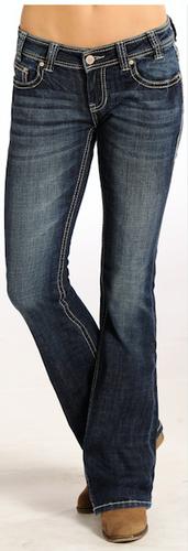 "Women's Rock & Roll Jeans, Rival Low Rise, Dark Wash, Tan ""Dash"" Pocket"