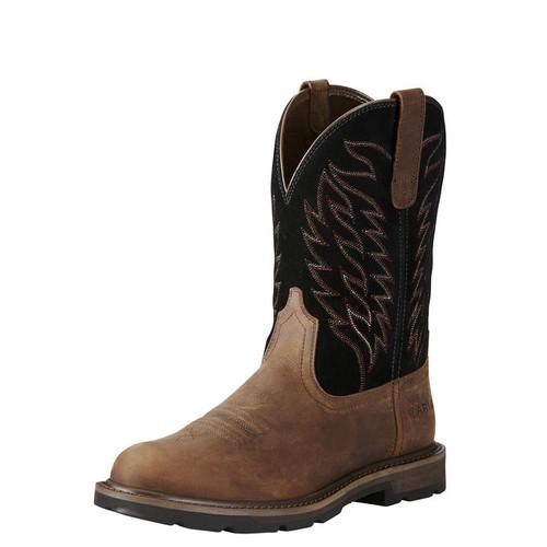 Men's Ariat Boot, Groudbreaker Pull On, Brown Round Toe