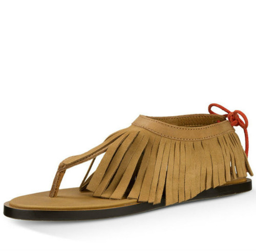 Women's Sanuk Sandal, Yoga Fringe, Tobacco Auburn