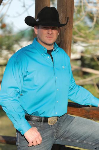 Men's Cinch Long Sleeve Solid Teal Button Down Shirt