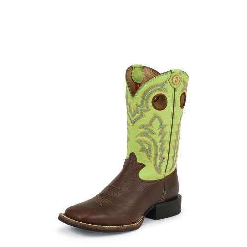Men's Tony Lama Boot, Brown Square Toe, Lime Green Shaft