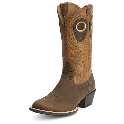 Men's Ariat Boot, Rounded Brown Toe, Orange Shaft
