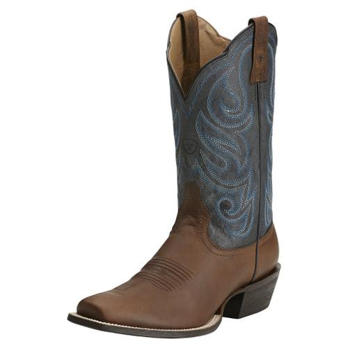 Men's Ariat Boot, Brown Snip Toe, Blue Shaft