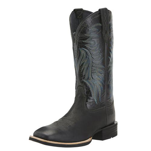 Men's Ariat Boot, Solid Black w/ Blue Stitching