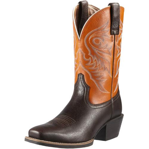 Men's Ariat Boot, Dark Brown Snip Toe, Orange Top
