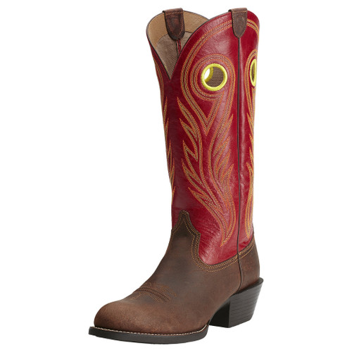 Men's Ariat Boot, Round Brown Toe, Red Tall Shaft