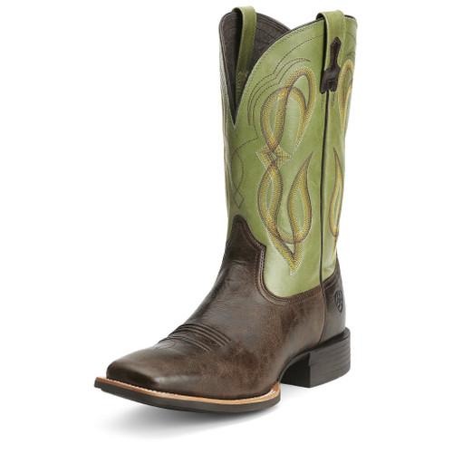 Men's Ariat Boot, Chocolate Vamp, Green Shaft