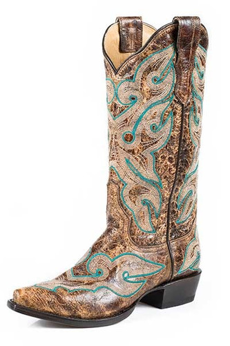 Women's Stetson Boot, Antique Brown/ Turquoise Stitching, Fashion Toe
