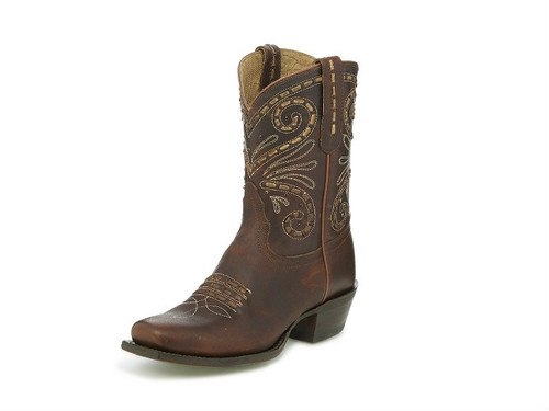 Women's Tony Lama Boot, Brown Short Top, Fashion Toe