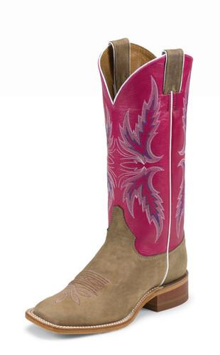 Women's Justin Boot, Brown/ Pink w/ Pink Stitch