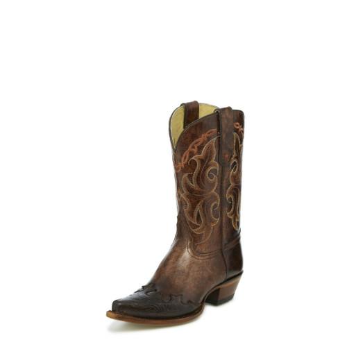 Women's Tony Lama Boot, Brown Tooled Wing Tip, Santa Fe, Snip Toe