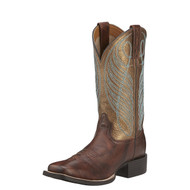 Women's Ariat Boot Brown, Gold Metallic/Turquoise Stitch