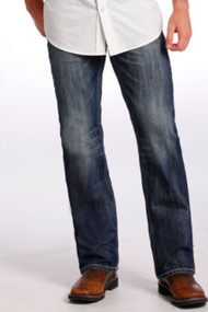 "Men's Rock & Roll Jeans Dark Wash, Relax, Straight Leg, Gray ""V"" Stitch Pocket"