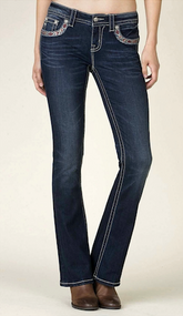 Women's Miss Me Jeans, Feather Pocket, Mid-Rise Bootcut
