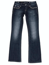 Women's Miss Me Jeans, Sequin Chevron, Flap Pocket, Relaxed Bootcut