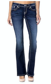 Women's Miss Me Jeans, Bronze Stitch/ Flap Pocket, Signature/ Bootcut