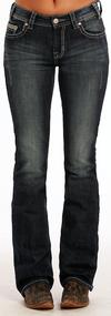 Women's Rock & Roll Jeans, Boyfriend, Med Wash, Small Rhinestone and Silver Stud Pockets