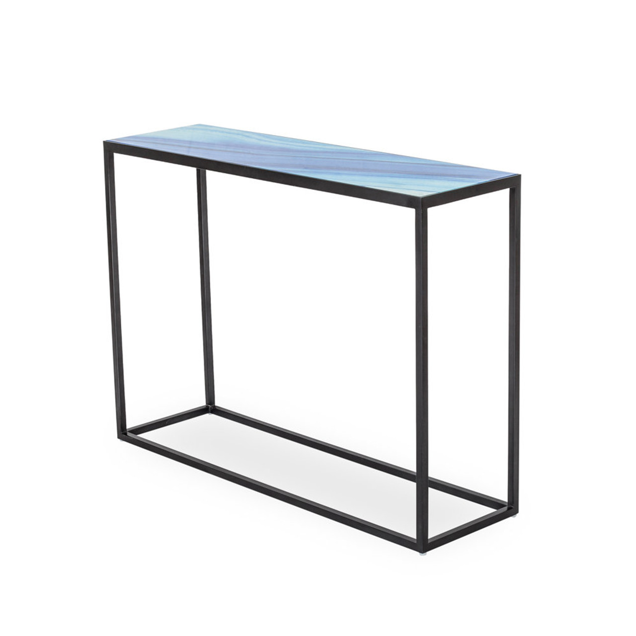 Glass console table with shelf - Seaside Glass Console Table