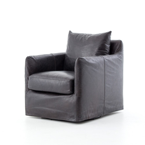 Bank Swivel Chair - Black Leather