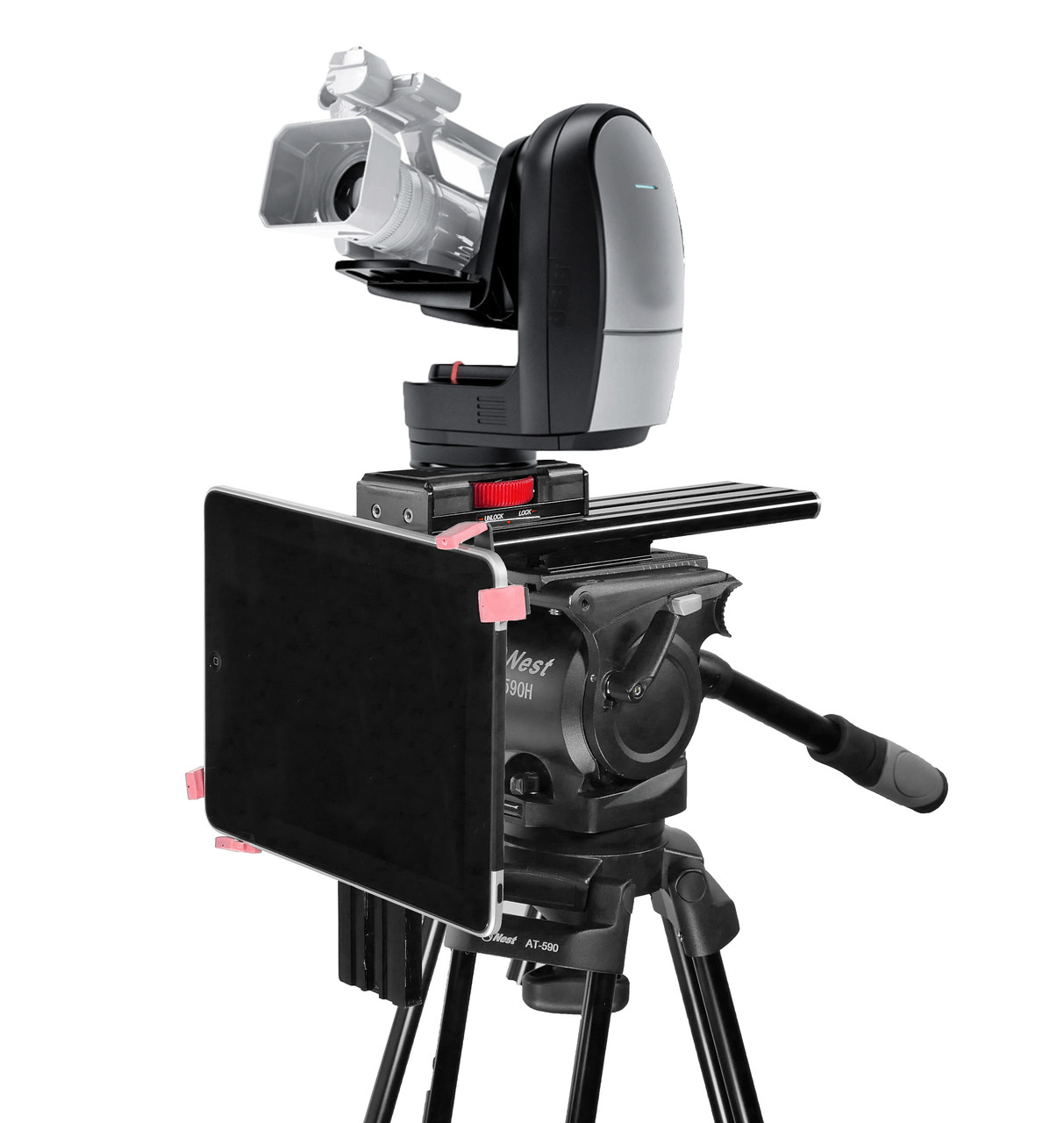 Under Camera iPad PTZ and Robotic Camera Teleprompter - Side Angled
