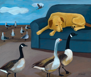 Dog Dream with Geese