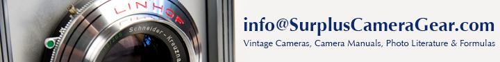 Contact Surplus Camera Gear: Vintage Cameras, Camera Manuals, Photo Literature & Formulas