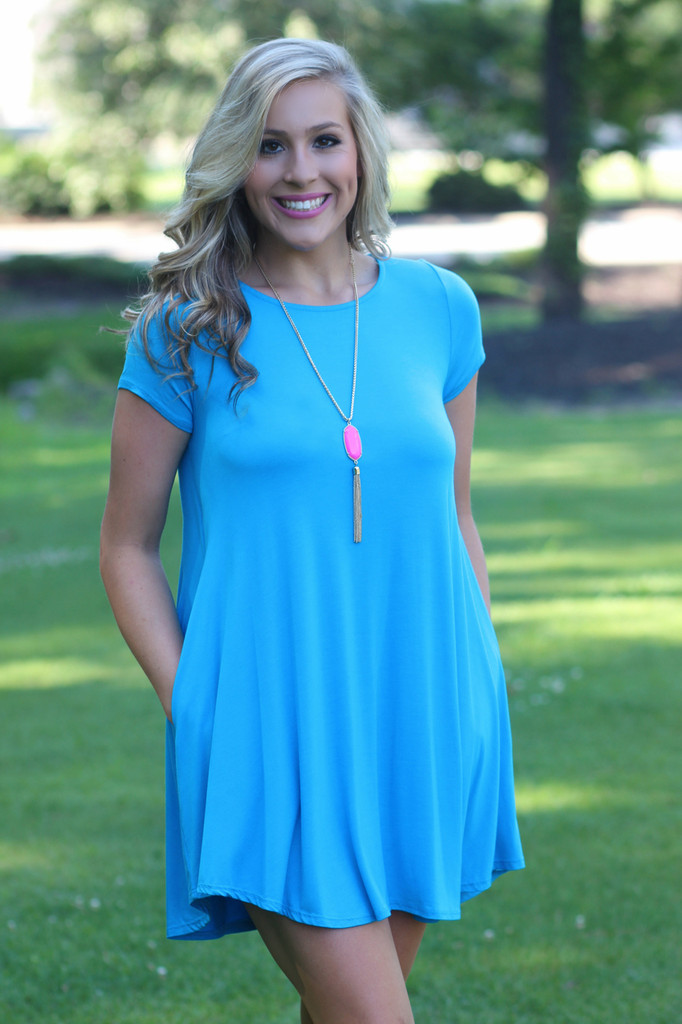 Above All Else Dress: Turquoise