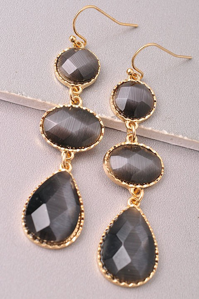 Drop Earrings: Black